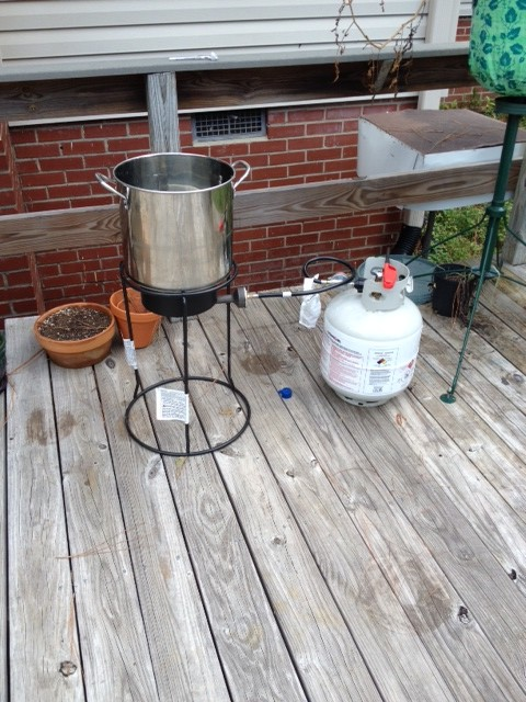 Brew Kettle on Fish Fryer